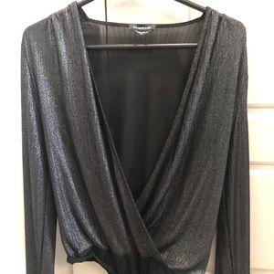 Bebe black shimmer bodysuit.